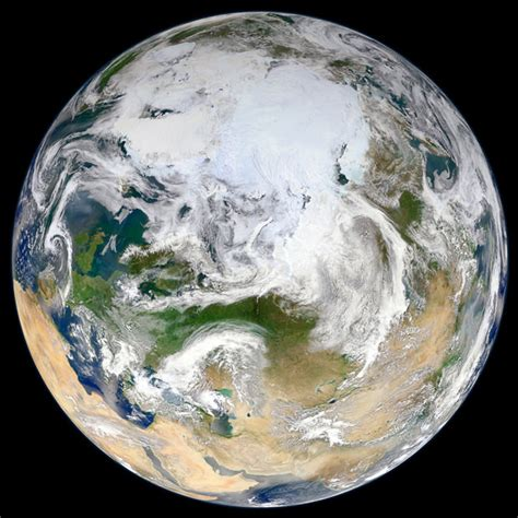 First Full Photo of Earth As Seen From Above the North Pole