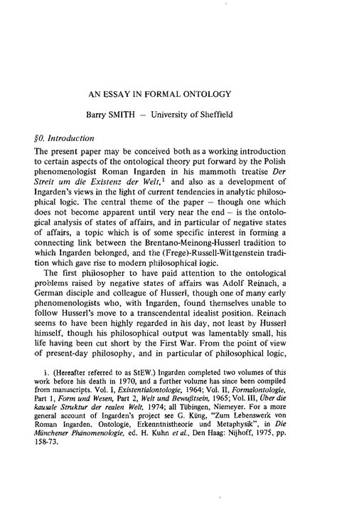 An Essay in Formal Ontology - Barry Smith - Grazer