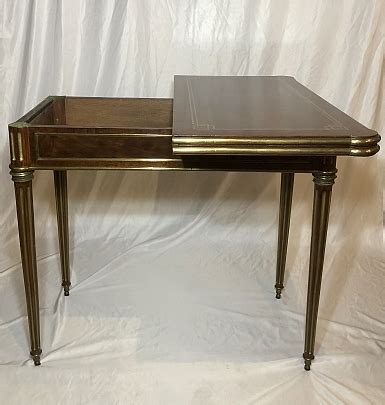 Antique Mahogany Regency Game Table with Brass Mounts