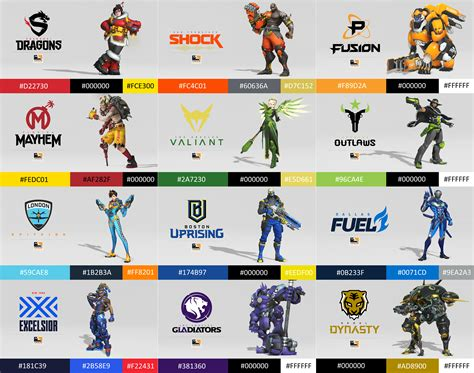 Overwatch League Teams with Colours and Hex Codes (sorted