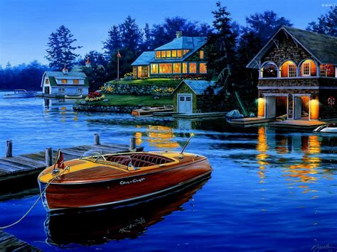 Houses Lake Boat Art Background : Wallpapers13